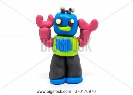 Play Dough Robot On White Background. Isolated