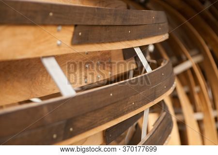 Wooden Striped Curving Background, Abstract Design. Bend Timber Details As Sculpture.