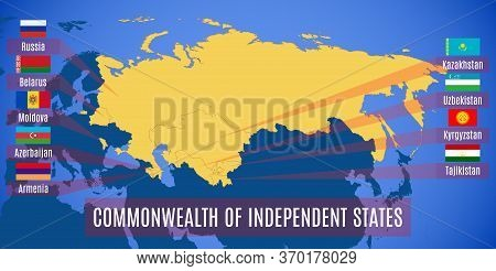 Map Of The Commonwealth Of Independent States (cis). Flags Of Countries-members Of Cis Without Ukrai