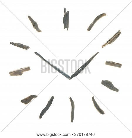 Driftwood Clock. Summer Time. Dial Made Of Driftwood Sea Snags Isolated On White Background.the Inte