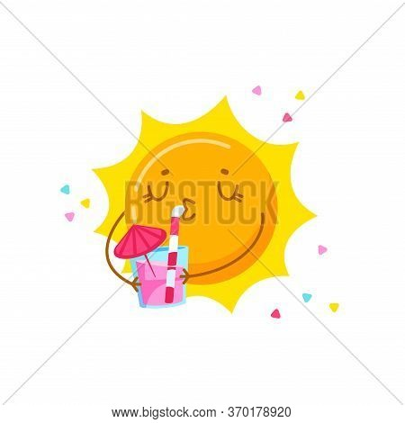 Cute Cartoon Sun Character Drinking Cocktail Isolated On White Background. Kawaii Personage Relaxing