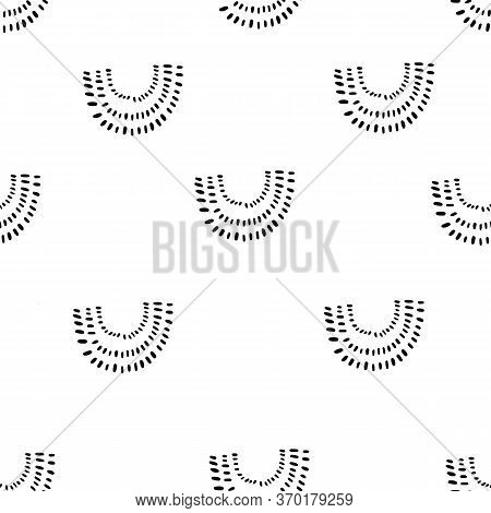 Rainbow Shapes, Curves, Arcs. U Shaped Abstract Seamless Black And White Pattern. Hand Drawn Vector