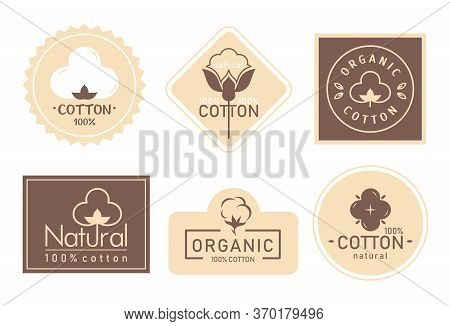 Organic Cotton Label Vector Illustration Set. Mark Logo Icons Collection With Cottonseed Branch Plan