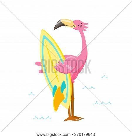 Cute Pink Flamingo With Surf Board On Beach. Cartoon Character On Summer Vacation. Kawaii Personage