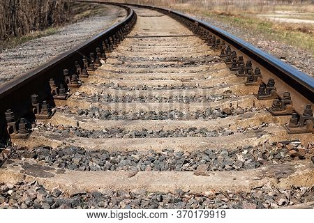 The Length Of The Railway Track. Old Railroad Tracks.