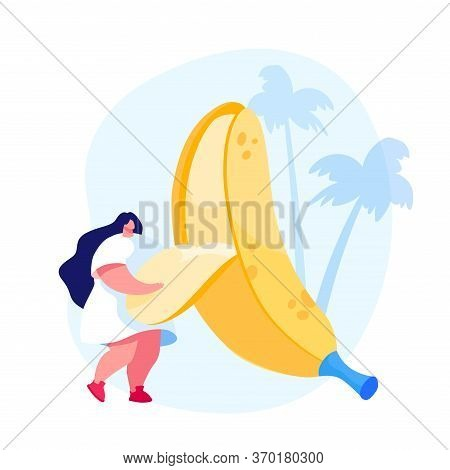Tiny Female Character Remove Peel From Huge Banana. Vegetarian And Healthy Food Fortified Nutrition,