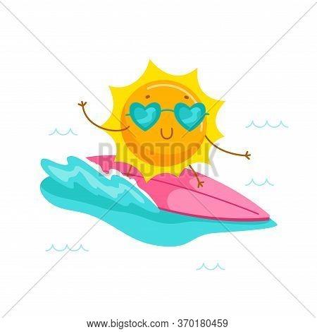 Cute Cartoon Sun Character Wearing Heart Sunglasses Riding Surf Board. Kawaii Personage Summer Summe