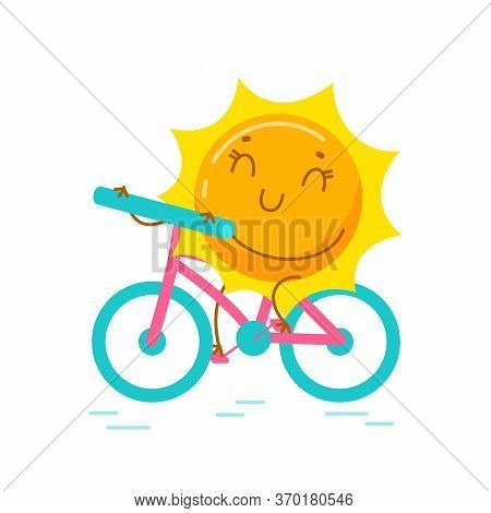 Kawaii Sun Personage Riding Bicycle Isolated On White Background. Cute Cartoon Summer Character Summ