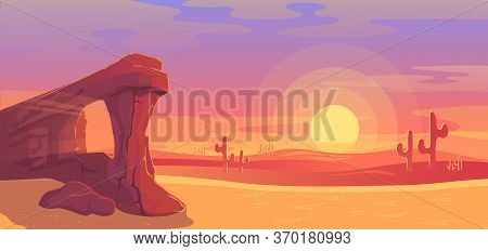 Desert Landscape Vector Illustration. Cartoon Panoramic Nature Scenery With Dry Sand Land, Sandstone
