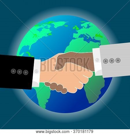 Flat Vector Image Of A Globe And A Handshake. Vector Image Of A Handshake Around A Globe. The Intern