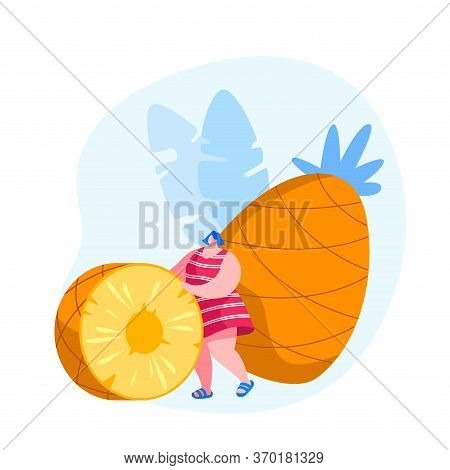 Tropical Fruits Diet. Young Woman Rolling Huge Pineapple Slice, Tiny Female Character Choosing Veget