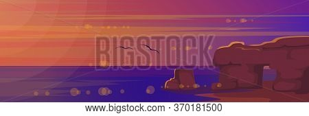 Sunset At Sea Landscape Vector Illustration. Cartoon Flat Nature Of Rocky Beach Island With Big Ston