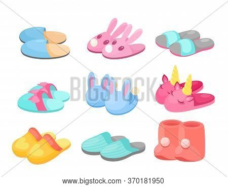 Slippers Vector Illustration Set. Cartoon Flat Home Footwear Collection In Different Colors, Comfort