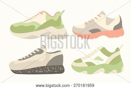 Snickers Shoes Vector Illustration. Cartoon Flat Collection Of Man Woman Fashion Footwear In Differe
