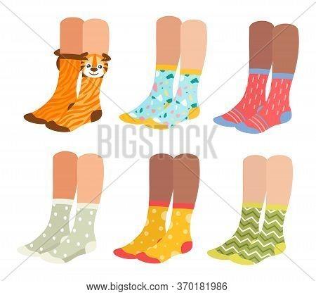 Socks On Woman Legs Vector Illustration Set. Cartoon Flat Collection Of Girl Underwear Accessories,