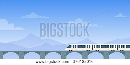 Travel By Train Vector Illustration. Cartoon Flat Modern Electric Express Train With Travelers Trave