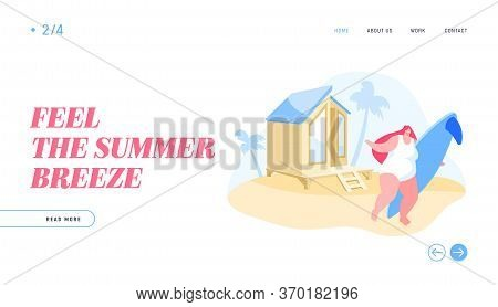 Summer Vacation, Traveling Woman Holidays In Exotic Country Landing Page Template. Young Girl Charac