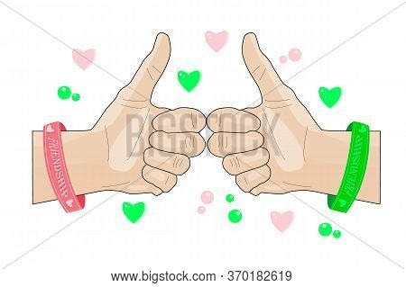 Friendship Gesture Isolated On White Background. Happy Friendship Day. Hands With Rubber Bracelets.
