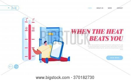 Heat Stroke, Extremal Heating Conditions Landing Page Template. Unhappy Male Character Sit At Home W