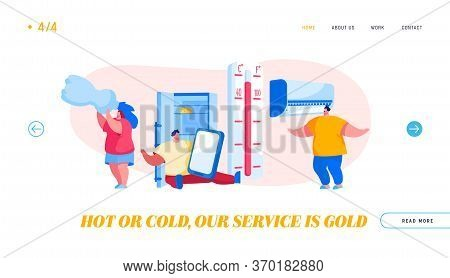 Characters In Summer Time Hot Period Landing Page Template. Sweltering In Heat Young And Aged People