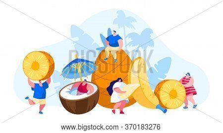 Tiny Men And Women Characters And Huge Ripe Tropical Fruits Coconut, Pineapple, Banana. Vegetarian H