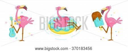 Set Of Pink Flamingo Play Ukulele, Float Inflatable Ring And Eating Ice Cream. Cartoon Character Sum