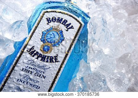 Bottle Of Bombay Sapphire Gin In Crushed Ice