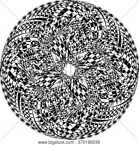Abstract Arabesque Distort Spinning Sphere Perspective Negative Space Design Black On Transparent Ba