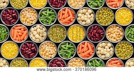 Seamless Food Background Made Of Opened Canned Chickpeas, Green Sprouts, Carrots, Corn, Peas, Beans