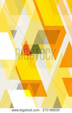 Colorful Geometric. Cubes And Triangles Lined Stripy, Cover Swiss Modernism. Yellow And White Textur