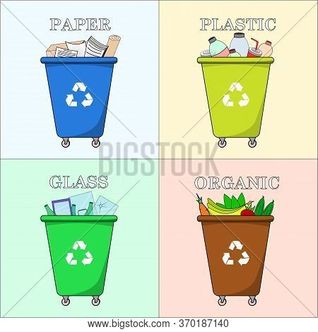 Different Colored Trash Dumpsters With Paper, Plastic, Glass And Organic Waste Suitable For Recyclin