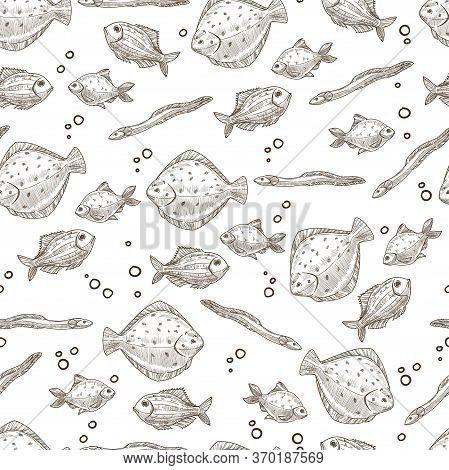 Aquatic Tropical Fish, Exotic Sea Creatures Seamless Pattern