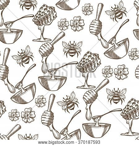 Beehive With Bees, Flowers And Honey In Plate Seamless Pattern