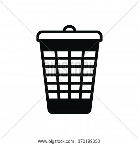Black Solid Icon For Bin Dustbin  Trash-cans  Garbage Recycling Rubbish Basket Container Discard Was