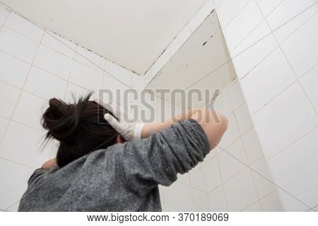 Mold Or Fungus Of The Wall In The Shower Room Causing Black Or Brown Mold In The Bathroom Or Toilet