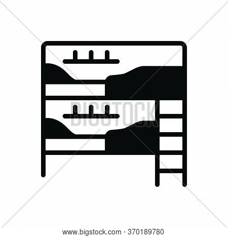 Black Solid Icon For Dormitory Hostel Dorm Bedroom Dormer Hotel Residential Room