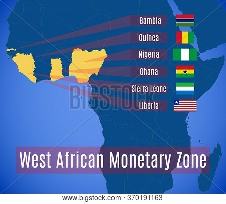 Map And Flags Of The West African Monetary Zone (wamz).