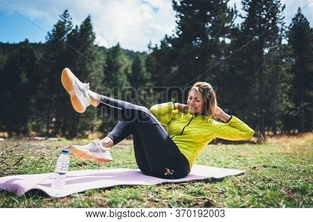 Girl Laughing Exercising Outdoors In Sun Summer Day, Smile Fitness Woman Stretching Exercises Traini
