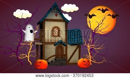 Halloween Holiday Concept. A Small House With Pumpkins And A Funny Ghost. 3d Rendering