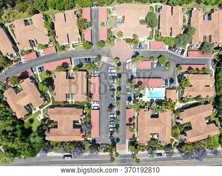 Aerial View Middle Class Neighborhood With Private Condo Community In Rancho Bernardo, South Califor