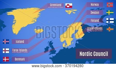 Vector Map Of The Nordic Council Countries.