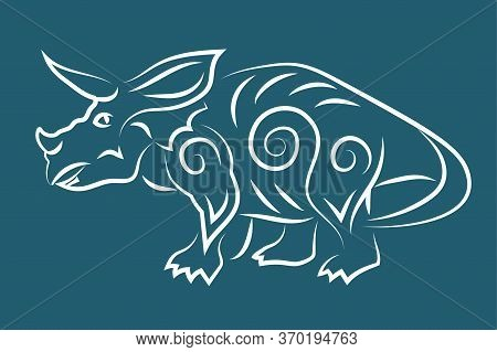 Beautiful Hand Drawn Linear Tribal Illustration With White Triceratops Silhouette Isolated On The Bl