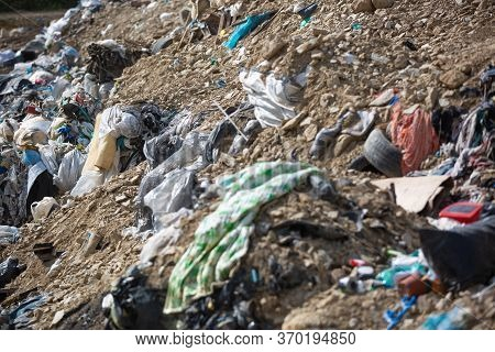 Garbage Dump Pile In A Trash Dump Or Landfill, Gabage From Household, Garbage Dump Pile, Pollution C