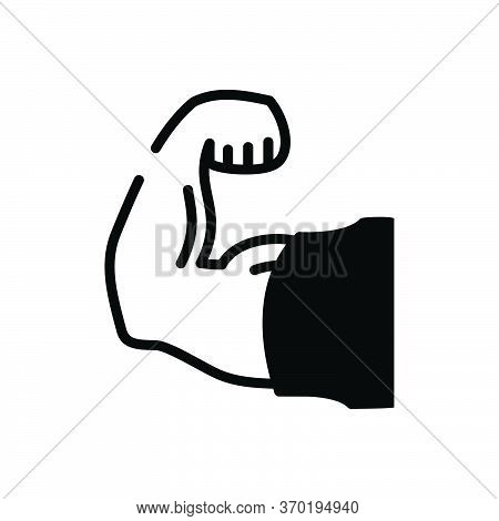 Black Solid Icon For Strong Sturdy Robust Powerful Impressive Influential Effective Imposing