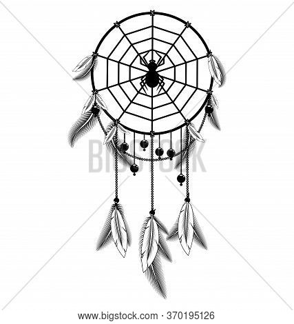 White Black Colored Image Of Dreamcatcher With Feathers And Spider
