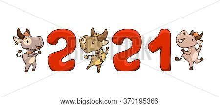 2021 New Year Illustration With Cute Cow Character. 2021 Social Media Banner On White Background. Ca
