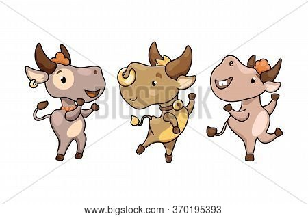 Cute Cartoon Cow Or Bull Character Set Vector Illustration On White Background. Cheerful Ox Dancing.