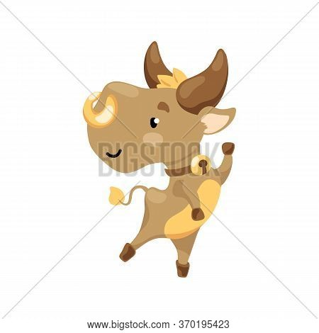 Cute Bull Character Vector Illustration On White Background. Cheerful Ox Dancing. 2021 Lunar Year An