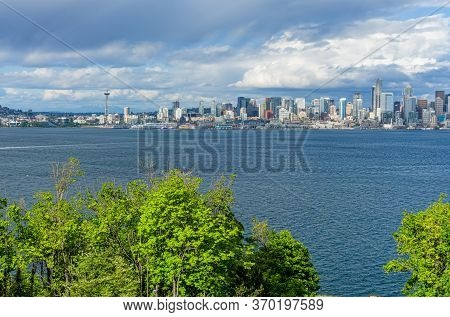 A View Of The Seattle Skyline From A Lookout In West Seattle.