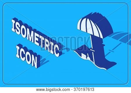 Isometric Sun Protective Umbrella For Beach Icon Isolated On Blue Background. Large Parasol For Outd